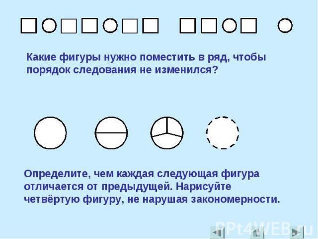 Какие фигуры нужно поместить в ряд, чтобы порядок следования не изменился?Определите, чем каждая следующая фигура отличается от предыдущей. Нарисуйте четвёртую фигуру, не нарушая закономерности.