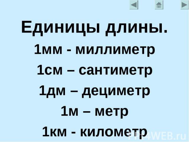 Единицы длины.1мм - миллиметр1см – сантиметр1дм – дециметр1м – метр1км - километр