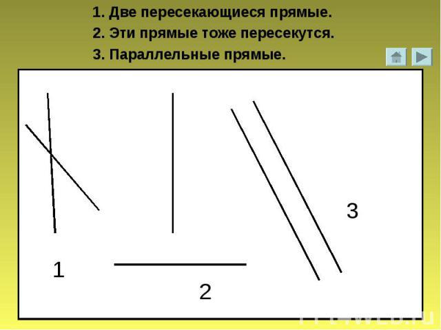 1. Две пересекающиеся прямые.2. Эти прямые тоже пересекутся.3. Параллельные прямые.