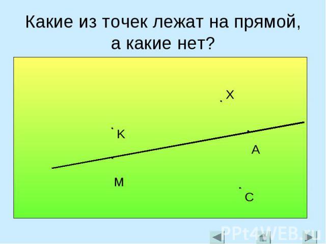 Какие из точек лежат на прямой, а какие нет?