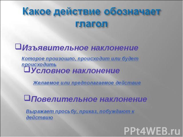 Какое действие обозначает глагол Изъявительное наклонениеУсловное наклонениеПовелительное наклонение