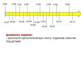 Домашнее задание: - заполните хронологическую ленту, подписав события под датами