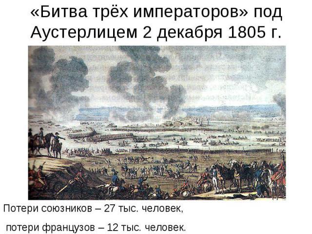 «Битва трёх императоров» под Аустерлицем 2 декабря 1805 г.Потери союзников – 27 тыс. человек, потери французов – 12 тыс. человек.