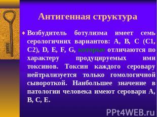 Возбудитель ботулизма имеет семь серологичних вариантов: А, В, С (С1, С2), D, E,