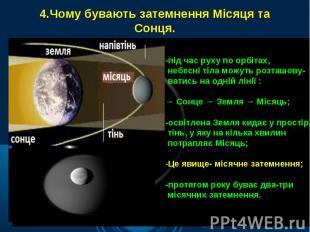 4.Чому бувають затемнення Місяця та Сонця.