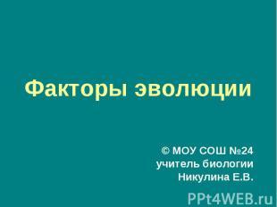 Факторы эволюции© МОУ СОШ №24учитель биологииНикулина Е.В.