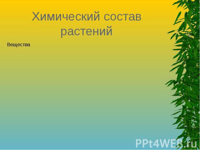 Химический состав растений Вещества…**Органические***