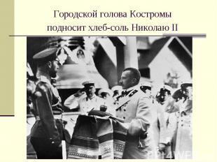 Городской головаКостромыподносит хлеб-соль Николаю II