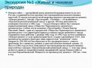Экскурсия №1 «Живая и неживая природа» Новороссийск— крупнейший центр цементной