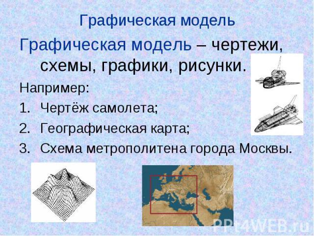 Графическая модель Графическая модель – чертежи, схемы, графики, рисунки.Например:Чертёж самолета;Географическая карта;Схема метрополитена города Москвы.