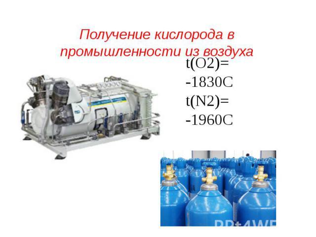 Получение кислорода в промышленности из воздуха t(О2)= -1830Сt(N2)= -1960С
