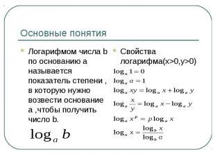 Основные понятияЛогарифмом числа b по основанию a называется показатель степени