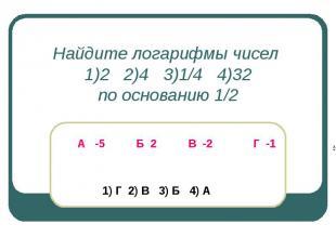 Найдите логарифмы чисел 1)2 2)4 3)1/4 4)32по основанию 1/2 А -5 Б 2 В -2 Г -1 1)