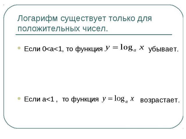 Логарифм существует только для положительных чисел.Если 0<a<1, то функцияЕсли a<1 , то функция