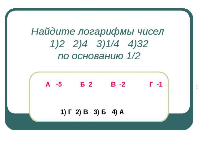 Найдите логарифмы чисел 1)2 2)4 3)1/4 4)32по основанию 1/2 А -5 Б 2 В -2 Г -1 1) Г 2) В 3) Б 4) А