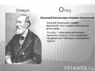 семья: Отец Василий Васильевич Корвин-Круковский Василий Васильевич Корвин-Круко