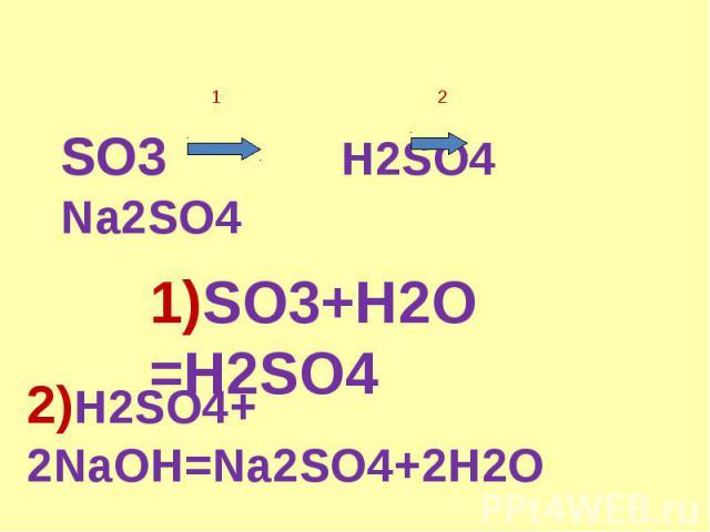 SO3 H2SO4 Na2SO4 1)SO3+H2O =H2SO4 2)H2SO4+ 2NaOH=Na2SO4+2H2O
