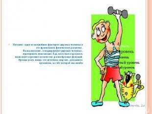 Питание –один из важнейших факторов здоровья человека и его правильного физическ