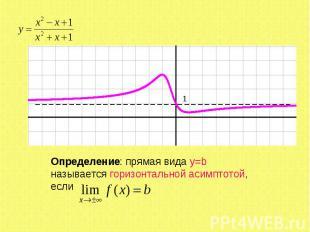 Определение: прямая вида y=b называется горизонтальной асимптотой, если