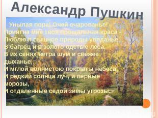 Александр Пушкин Унылая пора! Очей очарованье!Приятна мне твоя прощальная краса