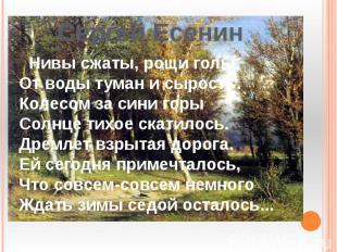 Сергей Есенин Нивы сжаты, рощи голы,От воды туман и сырость.Колесом за сини горы