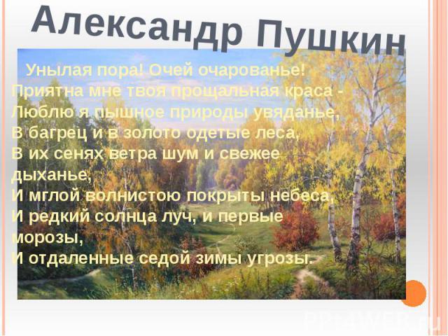 Александр Пушкин Унылая пора! Очей очарованье!Приятна мне твоя прощальная краса -Люблю я пышное природы увяданье,В багрец и в золото одетые леса,В их сенях ветра шум и свежее дыханье,И мглой волнистою покрыты небеса,И редкий солнца луч, и первые мор…