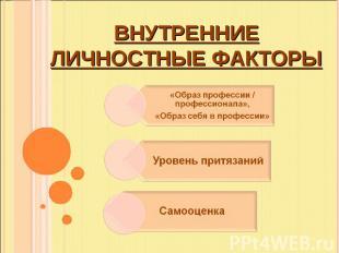 Внутренниеличностные факторы «Образ профессии / профессионала», «Образ себя в пр