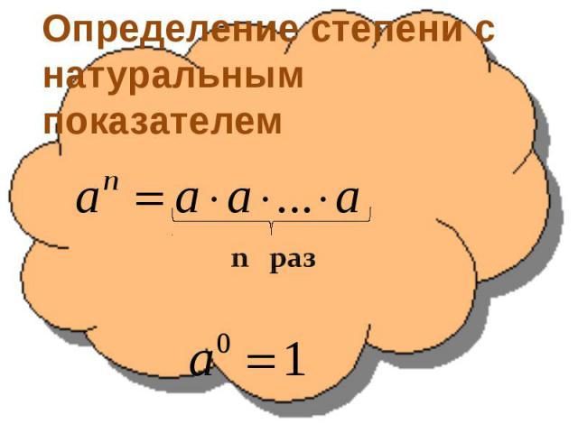 Определение степени с натуральным показателем