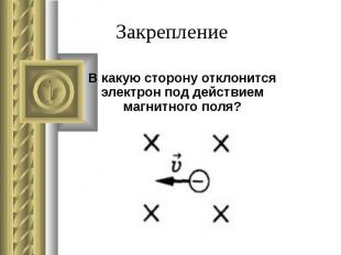 В какую сторону отклонится электрон под действием магнитного поля?