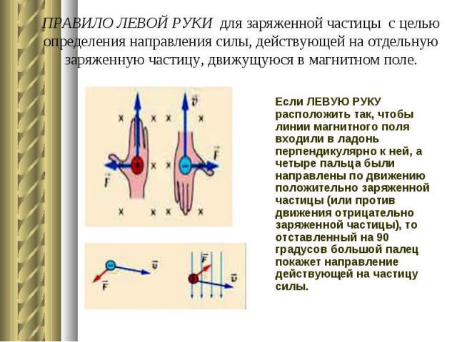 ПРАВИЛО ЛЕВОЙ РУКИ для заряженной частицы с целью определения направления силы, действующей на отдельную заряженную частицу, движущуюся в магнитном поле. Если ЛЕВУЮ РУКУ расположить так, чтобы линии магнитного поля входили в ладонь перпендикулярно к…