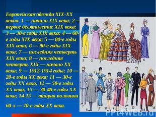 Европейская одежда XIX-XX веков: 1— начало XIX века; 2— первое десятилетие XIX