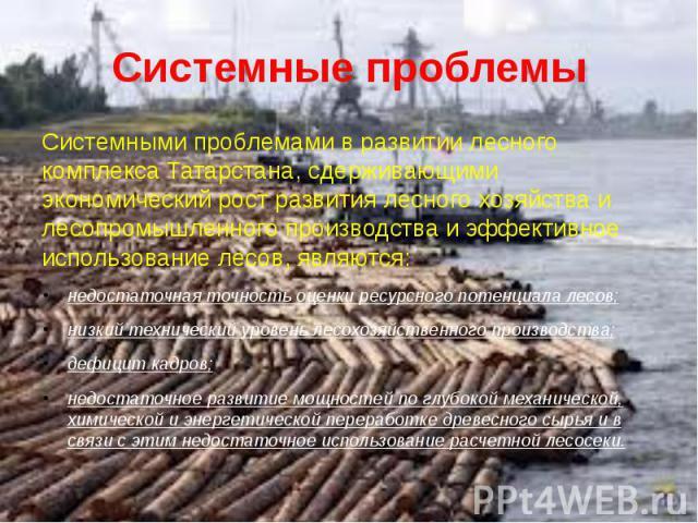Системные проблемы Системными проблемами в развитии лесного комплекса Татарстана, сдерживающими экономический рост развития лесного хозяйства и лесопромышленного производства и эффективное использование лесов, являются:недостаточная точность оценки …