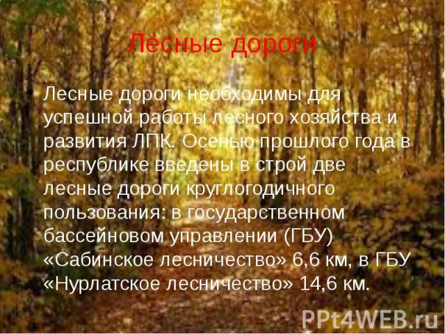Лесные дороги необходимы для успешной работы лесного хозяйства и развития ЛПК. Осенью прошлого года в республике введены в строй две лесные дороги круглогодичного пользования: в государственном бассейновом управлении (ГБУ) «Сабинское лесничество» 6,…
