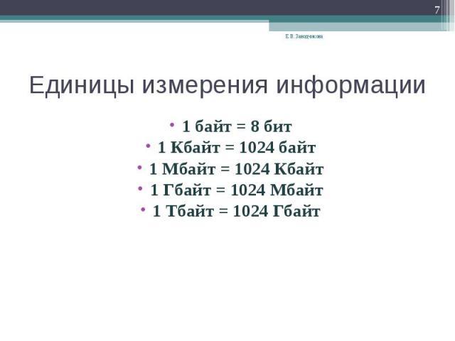 Единицы измерения информации 1 байт = 8 бит1 Кбайт = 1024 байт1 Мбайт = 1024 Кбайт1 Гбайт = 1024 Мбайт1 Тбайт = 1024 Гбайт