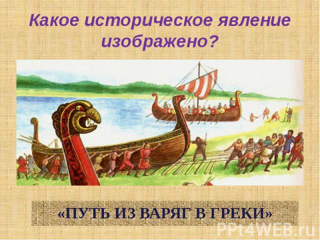 Какое историческое явление изображено?«ПУТЬ ИЗ ВАРЯГ В ГРЕКИ»