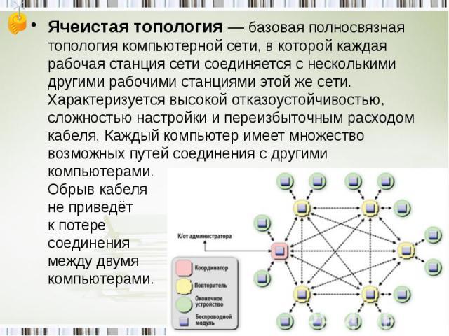 Ячеистая топология— базовая полносвязная топология компьютерной сети, в которой каждая рабочая станция сети соединяется с несколькими другими рабочими станциями этой же сети. Характеризуется высокой отказоустойчивостью, сложностью настройки и переи…