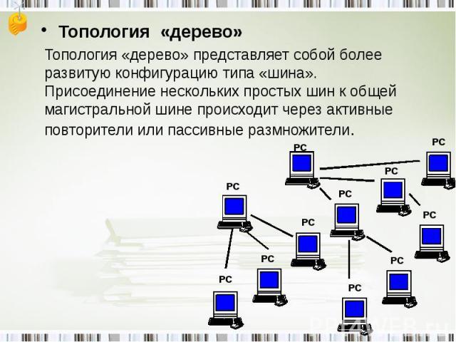 Топология «дерево»Топология «дерево» представляет собой более развитую конфигурацию типа «шина». Присоединение нескольких простых шин к общей магистральной шине происходит через активные повторители или пассивные размножители.
