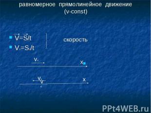 равномерное прямолинейное движение(v-const)скоростьV=S/tVx=Sx/t