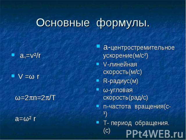 Основные формулы. ац=v²/rV =ω r ω=2n=2/T а=ω² r а-центростремительное ускорение(м/c²)V-линейная скорость(м/c)R-радиус(м)ω-угловая скорость(рад/с)n-частота вращения(с¹)T- период обращения.(с)