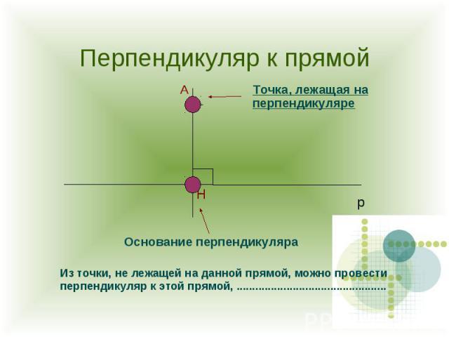 Перпендикуляр к прямой Точка, лежащая на перпендикуляре Основание перпендикуляра Из точки, не лежащей на данной прямой, можно провести перпендикуляр к этой прямой, ................................................