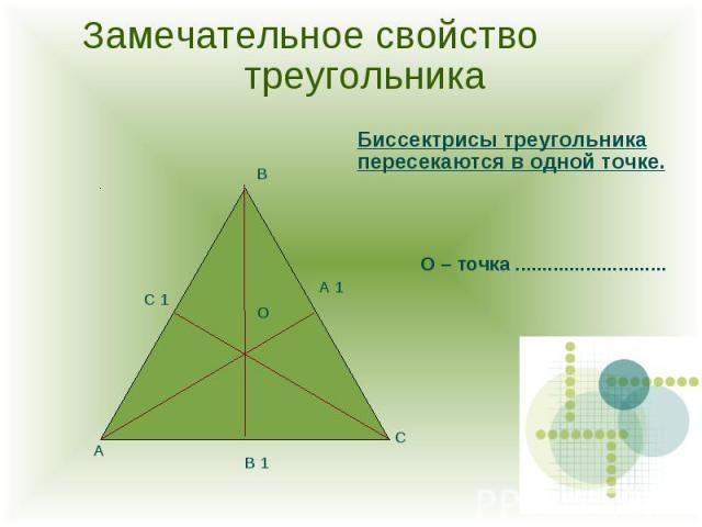 Замечательное свойство треугольника Биссектрисы треугольника пересекаются в одной точке.