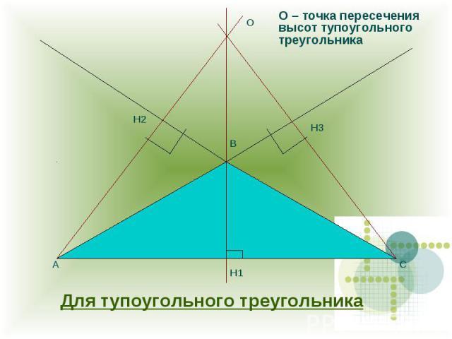 О – точка пересечения высот тупоугольного треугольника Для тупоугольного треугольника