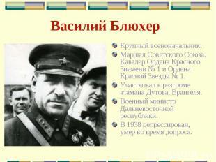 Василий Блюхер Крупный военоначальник.Маршал Советского Союза. Кавалер Ордена Кр