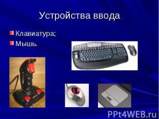 Устройства вводаКлавиатура;Мышь.