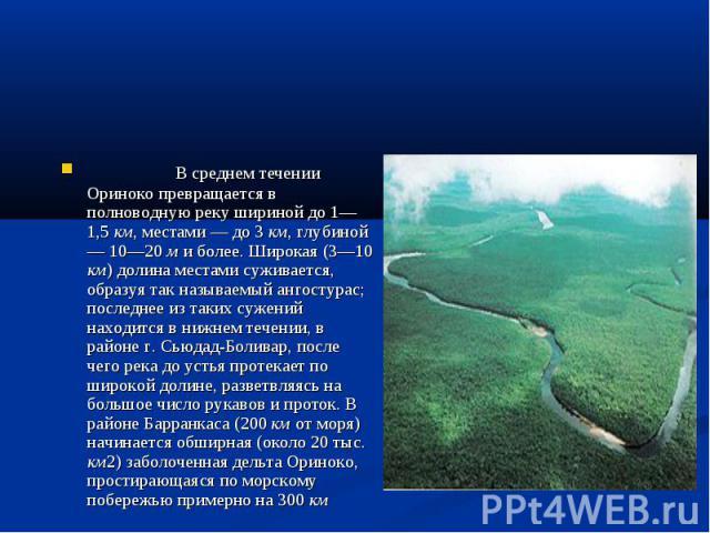 В среднем течении Ориноко превращается в полноводную реку шириной до 1—1,5 км, местами — до 3 км, глубиной — 10—20 м и более. Широкая (3—10 км) долина местами суживается, образуя так называемый ангостурас; последнее из таких сужений находится в нижн…