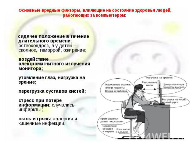 Основные вредные факторы, влияющие на состояние здоровья людей, работающих за компьютером: сидячее положение в течение длительного времени: остеохондроз, а у детей – сколиоз, геморрой, ожирение; воздействие электромагнитного излучения монитора; утом…
