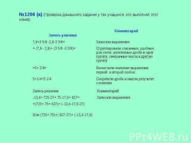 №1206 (а) (Проверка домашнего задания у тех учащихся, кто выполнял этот номер.