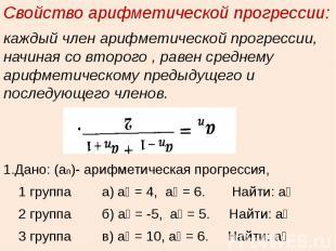 Свойство арифметической прогрессии:каждый член арифметической прогрессии, начина
