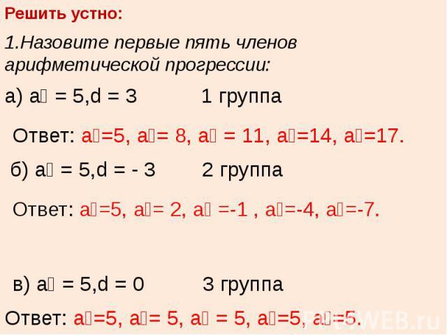 Решить устно:1.Назовите первые пять членов арифметической прогрессии:а) а₁ = 5,d = 3 1 группа Ответ: а₁=5, а₂= 8, а₃ = 11, а₄=14, а₅=17. б) а₁ = 5,d = - 3 2 группа Ответ: а₁=5, а₂= 2, а₃ =-1 , а₄=-4, а₅=-7. в) а₁ = 5,d = 0 3 группа Ответ: а₁=5, а₂= …