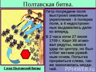 Полтавская битва. Петр посредине поля выстроил земляные укрепления - 6 поперек п